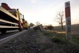 Wypadek na drodze nr 35 koło miejscowości Strzelce