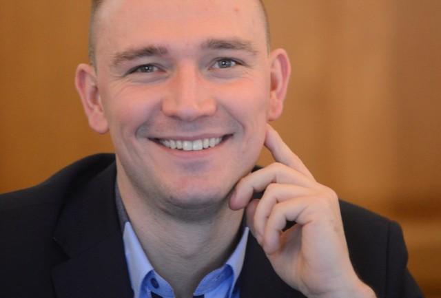 Paweł Wysocki, radny Zielona Razem, działacz wielu zielonogórskich stowarzyszeń.