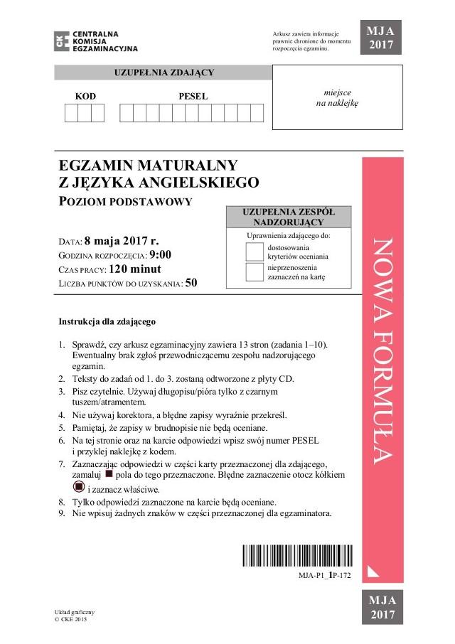Matura 2017 Język Angielski podstawowy. Dziś matury z języka angielskiego. Najpierw będzie egzamin z angielskiego na poziomie podstawowym. Co było na maturze z angielskiego na poziomie podstawowym? Arkusze CKE i odpowiedzi na pytania maturalne z języka angielskiego - SPRAWDŹ – MATURA 2017 JĘZYK ANGIELSKI POZIOM PODSTAWOWY – PYTANIA, ODPOWIEDZI – ARKUSZE CKE.