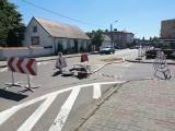Zapadnięty asfalt w centrum Golubia-Dobrzynia