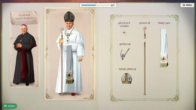 Gra edukacyjna poświęcona Janowi Pawłowi II składa się z 18 misji (zadań dla ucznia), które swoją tematyką nawiązują do biografii Papieża Polaka.