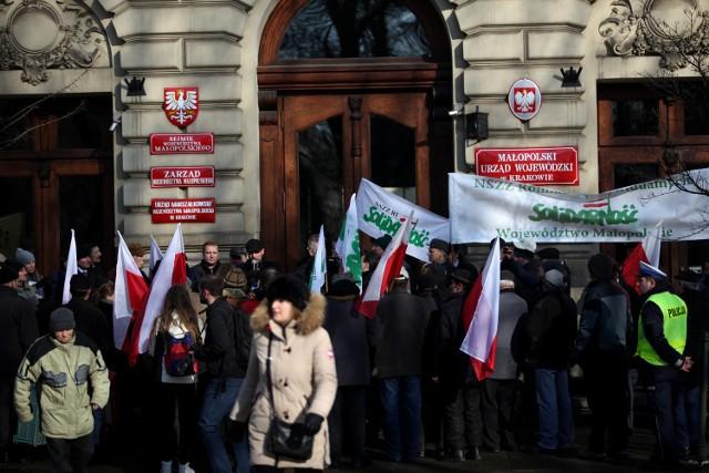 Protest rolników w Krakowie.