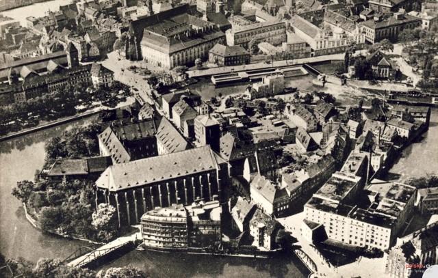Lata 1930-1940 - Wyspa Piasek na zdjęciu lotniczym, widok od północy