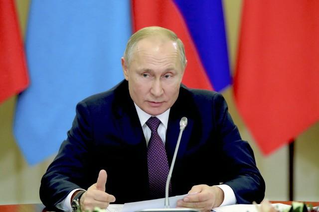 Władimir Purin podczas posiedzenia przywódców Eurazjatyckiej Wspólnoty Gospodarczej w Sankt Petersburgu