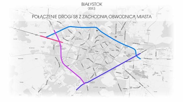 Połączenie drogi S8 z zachodnią obwodnicą Białegostoku. Projekt z 2013 roku