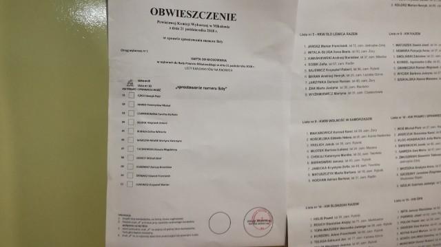 Błąd na kartach wyborczych w Mikołowie