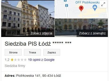 """Ktoś okrutnie zakpił z łódzkiego PiS. Po wpisaniu w wyszukiwarce Google frazy """"siedziba PiS Łódź"""" pojawia się wizytówka uzupełniona o... słynne osiem gwiazdekCZYTAJ DALEJ NA NASTĘPNYM SLAJDZIE>>>"""