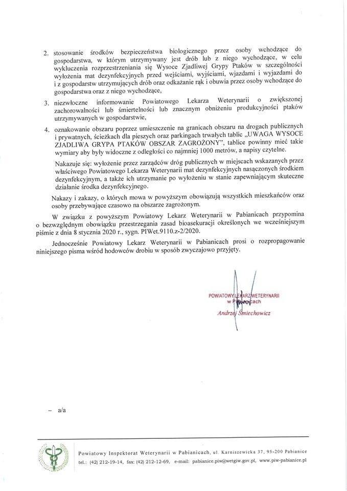 Gmina Lutomiersk zagrożona ptasią grypą. Powiatowy Lekarz Weterynarii wydał ostrzeżenie