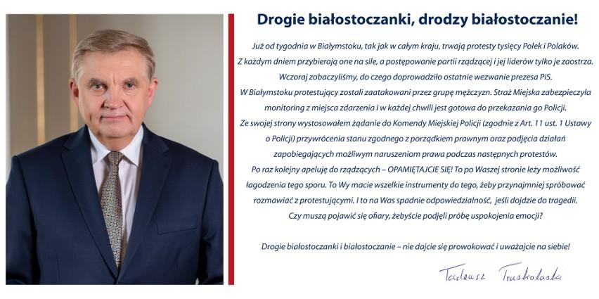 Białystok. Prezydent miasta apeluje do białostoczan, by uważali na siebie. Poseł KO: chuligani zaatakowali pokojowy marsz