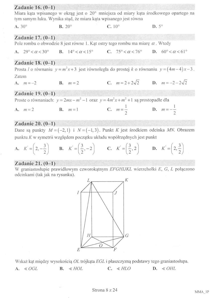 Nowa matura 2015 - matematyka [ARKUSZ CKE]...