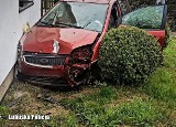 Nietrzeźwa kobieta przebiła autem ogrodzenie, złamała drzewo i uderzyła w dom. Miała 3 promile