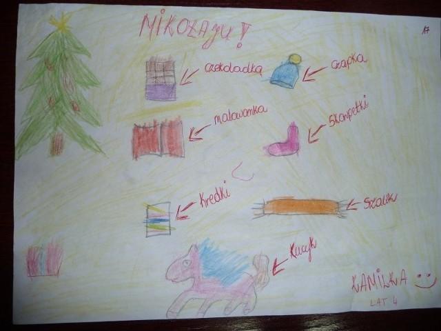 Kamilka nie ma zbyt wielu marzeń. Świętego Mikołaja prosi o czapkę, skarpetki, szalik i czekoladę. Jej list  jest na Facebooku na profilu pod hasłem Czarna pomaga Świętemu Mikołajowi i dzieciom.
