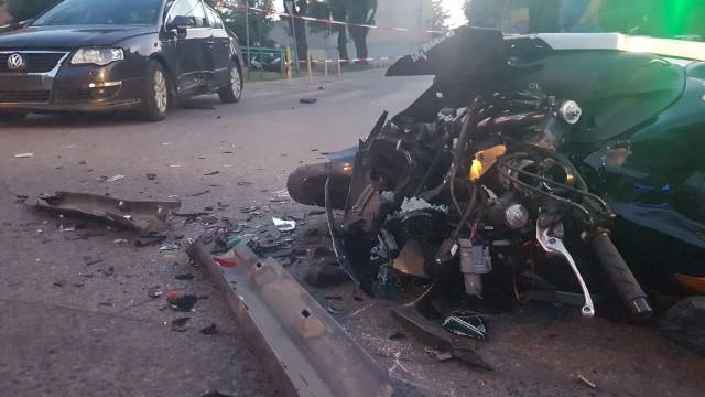 Wypadek motocyklisty na Łagiewnickiej w Łodzi
