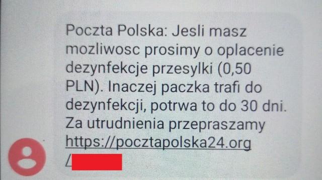 Oszuści próbuję tym razem podszyć się tak pod Pocztę Polską. Tak wygląda fałszywa wiadomość.