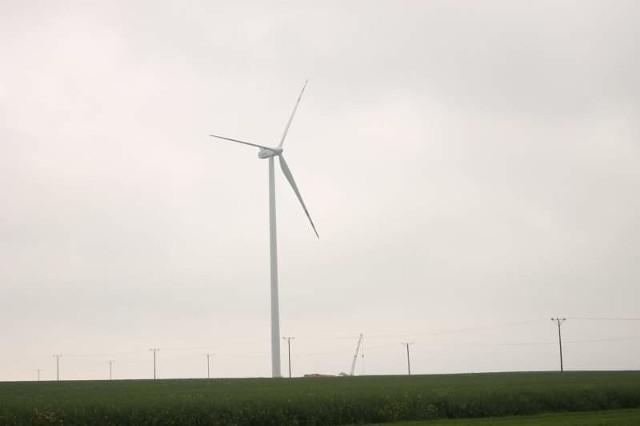 Dwa ogromne wiatraki w Kuniowie widać z daleka, nawet po drugiej stronie miasta, znad zbiornika retencyjnego w Ligocie Górnej.