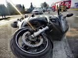 Wypadek w Woli Mystkowskiej na DW 618. Zderzenie samochodu z motocyklem. 25.03.2021