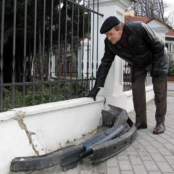 - Pijanego kierowcę powstrzymał tym razem mur - mówi Władysław Wyczawski.
