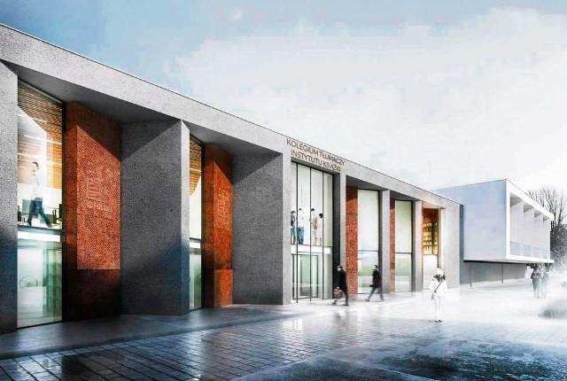 Wizualizacja fasady obiektu Instytutu Książki, który powstaje przy ul. Wróblewskiego
