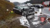 Mokrzyska k. Brzeska. Wypadek na autostradzie A4, zderzyły się cztery samochody, trzy osoby ranne [ZDJĘCIA]