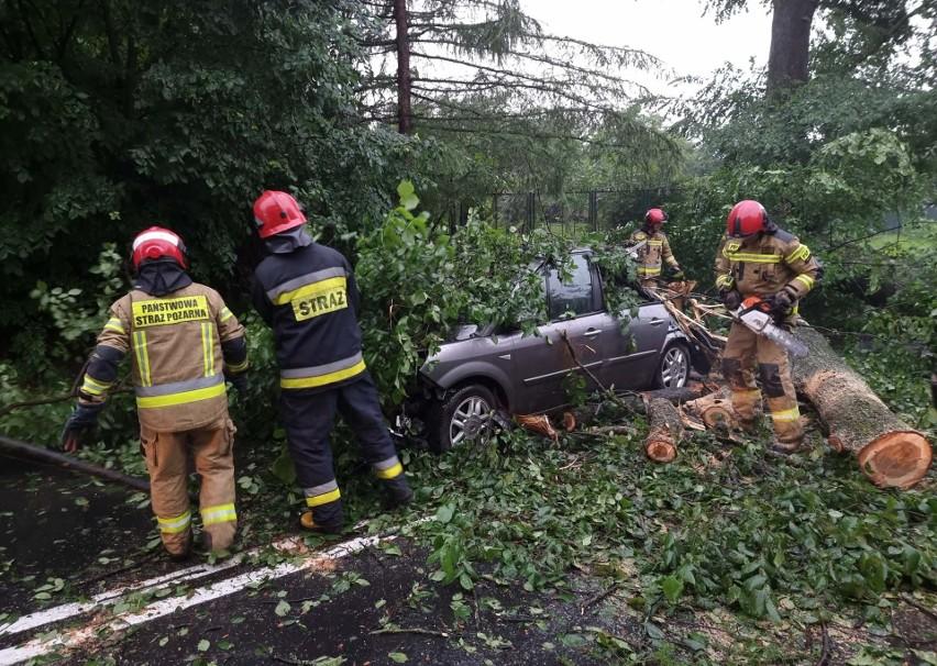 Gwałtowna burza nad Przemyślem. Na jadący samochód spadło drzewo [ZDJĘCIA]