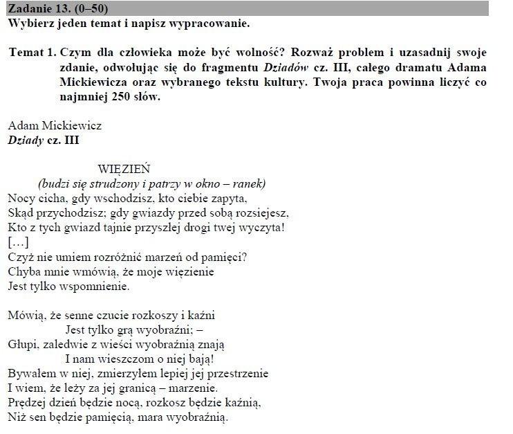 Temat Rozprawki Matura 2019 Co Było Na Maturze Z Polskiego