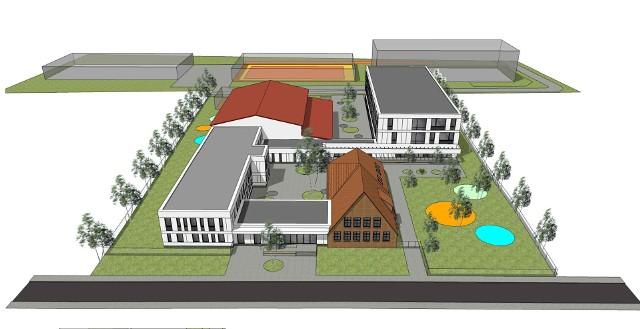 Wizualizacja nowej szkoły podstawowej w Radwanicach.