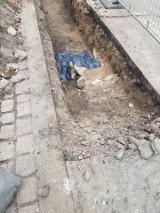 Kraków. Ludzkie kości i mur cmentarza znalezione na ulicy Garbarskiej