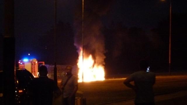 Pożar samochodu na Widzewie
