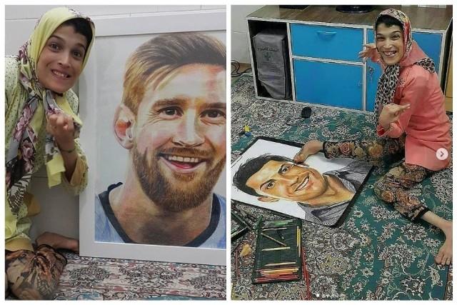 Fateme Hamami to irańska artystka, która jest sparaliżowana w 85 procentach. Mimo że jej zakres ruchów jest bardzo ograniczony, nie zrezygnowała ze swojej pasji, jaką jest malowanie. Prawą stopą tworzy portrety gwiazd filmu, muzyki czy sportu. W przypadku ostatniej tematyki, Hamami namalowała Lionela Messiego, Cristiano Ronaldo i Antoine Griezmann. Pod wrażeniem portretów są nie tylko jej fani w mediach społecznościowych. Talent i pasję dostrzegła też La Liga, która dziękowała za piękne malunki. Zobacz je na kolejnych slajdach.