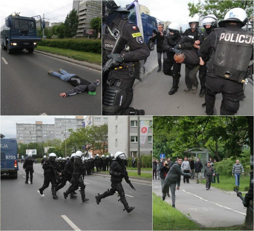 Protest przed komisariatem na Trzemeskiej we wtorek...