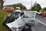 Wypadek w Chrząstowie koło Człuchowa 10.08.2019. Droga nr 22 była zablokowana. Rannych zostało 7 osób, w tym dziecko [zdjęcia, wideo]