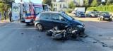 Poranny wypadek w Skarżysku Kościelnym. Kierowca golfa wymusił pierwszeństwo na motocykliście?
