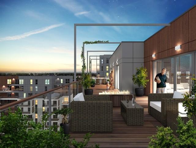 Atrium ParkTaki widok będzie się rozpościerał z tarasów na najwyższych piętrach.