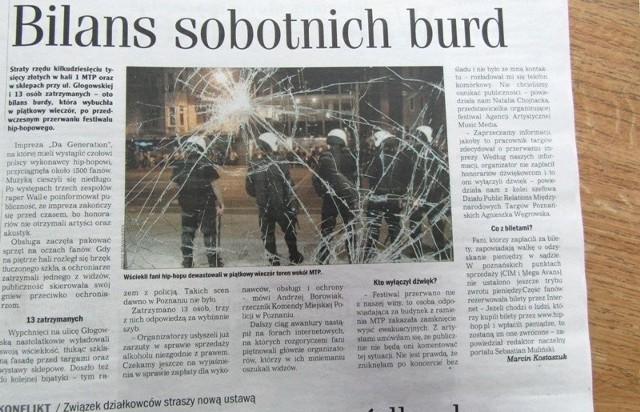 """O skandalu po festiwalu """"Da generation"""" pisaliśmy w październiku 2006 roku. Po nieudanym koncercie wściekli uczestnicy niszczyli okolicę"""