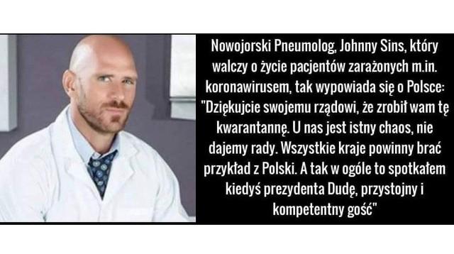 """Mema we wtorek wieczorem udostępniła na swoim facebookowym profilu poznańska radna PiS Lidia Dudziak. Szybko zareagował na to radny Koalicji Obywatelskiej Łukasz Mikuła. """"Przystojny ten doktor..."""" - napisał. I zaraz dodał: """"I ma bogaty dorobek..."""". Radna PiS po kilkunastu minutach postanowiła usunąć grafikę."""
