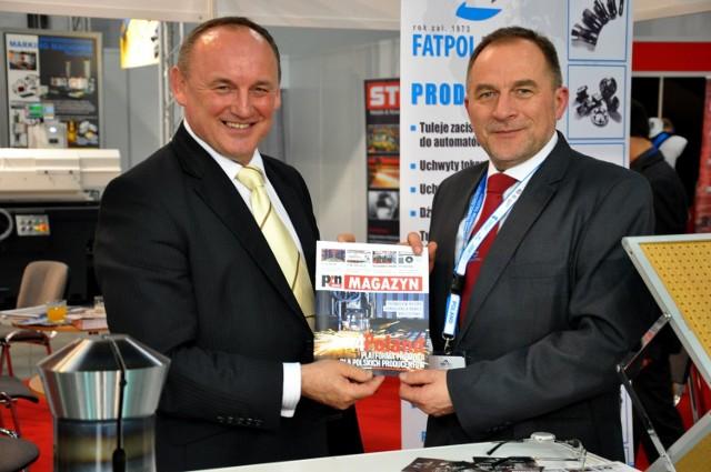 Marian Mucha, prezes zarządu Grupy PCN S.A. (z lewej) i Remigiusz Koprowski, właściciel firmy Fatpol-Tools podczas targów elektro-narzędziowych Stom-Tool w Kielcach.