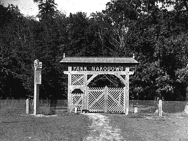 Tak wyglądała brama wejściowa do wtedy Ścisłego Rezerwatu Przyrody BPN w latach 30 XX wieku