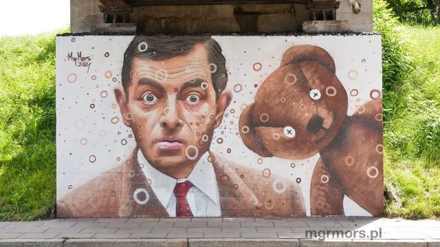 """""""Serial na Węgierskiej""""- te murale pojawiły się w ramach pleneru artystycznego mgr Morsa pod mostem kolejowym przy ul. Węgierskiej w Nowym Saczu"""