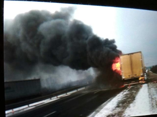 Pożar ciężarówki na DK1