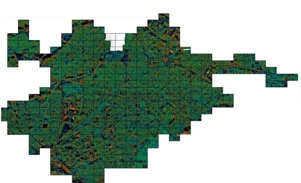 Mapa całego Białegostoku w termowizji