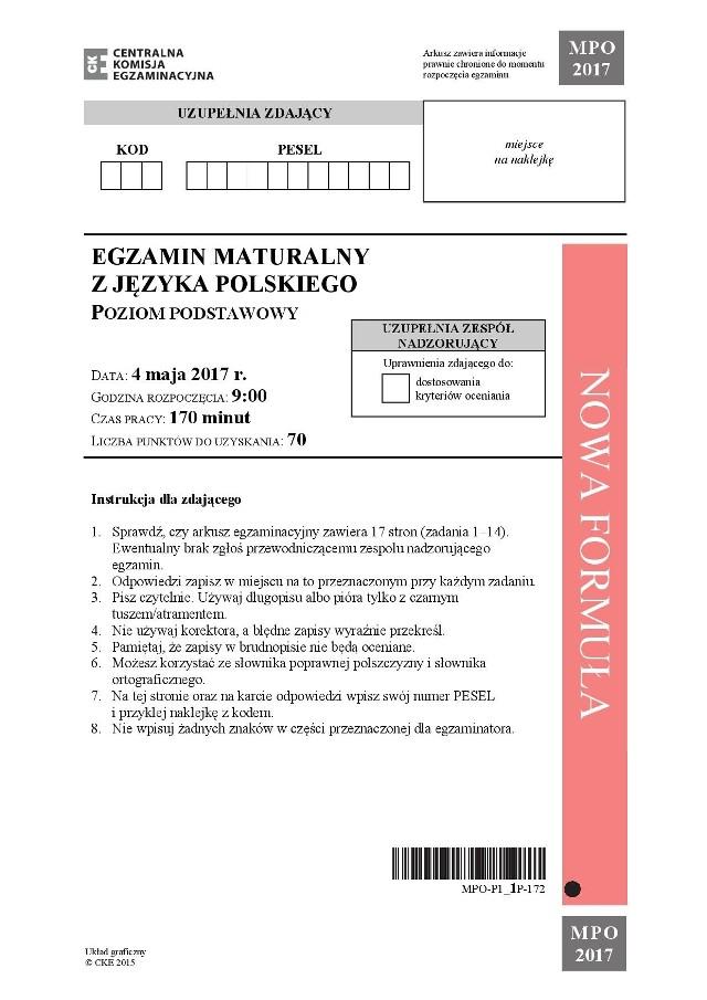 Matura 2017 Polski Podstawowy Poprawne Odpowiedzi
