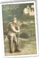 Piękna pocztówka z 1919 roku. Dumny żołnierz i zmysłowa dziewczyna..