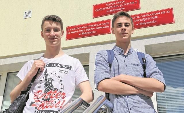 Jan Sadowski (z lewej) i Michał Malecki z PG 32 wybierają się do licealnej klasy z maturą międzynarodową. Ale bardzo chętnie zaczęliby naukę w tym systemie już w gimnazjum.