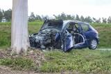 Wypadek pod Wąbrzeźnem. 26-latka poważnie ranna. Do szpitala zabrał ją śmigłowiec LPR [zdjęcia]