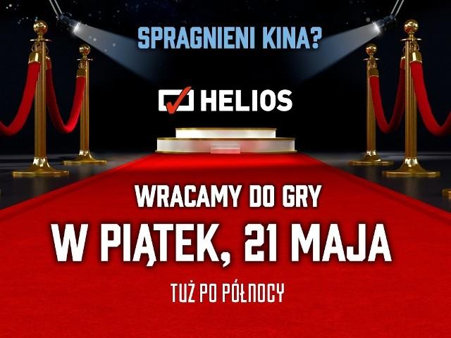 """Wszystkie kina """"Helios"""" w Polsce, w tym bydgoskie, zostaną ponownie otwarte w nocy z czwartku na piątek"""