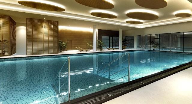 Tak będzie wyglądał główny hotelowy basen klubu Odyssey o długości 22 metrów, wizualizacja: Team