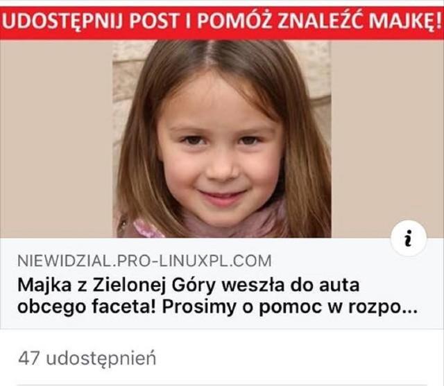 Uwaga na podejrzane linki informujące o zaginięciach dzieci.
