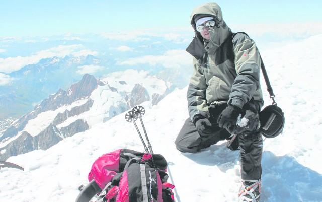 Marek Ratajczyk na szczycie Mount Blanc Mount Blanc w 2013 r.
