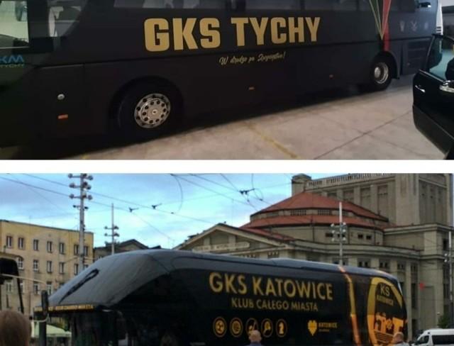 Autokar GKS-u Tychy w nowym oklejeniu przypomina autobus GKS-u Katowice?  Zobacz kolejne zdjęcia. Przesuwaj zdjęcia w prawo - naciśnij strzałkę lub przycisk NASTĘPNE
