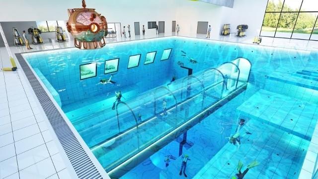 DEEP SPOT będzie najgłębszym basenem na świecie. Deep Spot powstaje w Mszczonowie, czyli niespełna 100 km od Łodzi. W najgłębszym miejscu Deep Spot będzie miał 45 metrów głębi.Największy na świecie basen nurkowy, czyli Deep Spot będzie miał aż 45 metrów głębokości, 8000 metrów sześciennych wody. Deep Spot dostępny będzie dla każdego, nie tylko dla profesjonalnych nurków, ale również dla amatorów. Zobacz więcej zdjęć na kolejnych slajdach